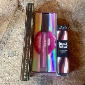 HUDA BEAUTY Makeup - NEW Lipstick, Lipgloss, Lip Crayon Lot Illamasqua